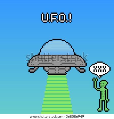 Pixel Illustration of alien and UFO - stock vector