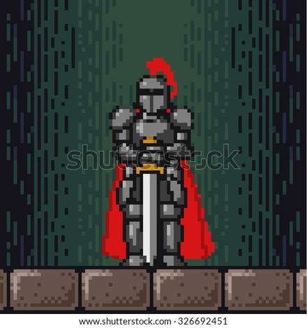 Pixel knight - stock vector