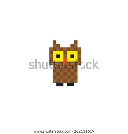 Pixel little owl. - stock vector