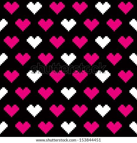 pixel love pattern - stock vector