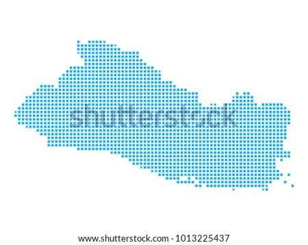 Pixel Mosaic Blue Dot Map On Stock Photo Photo Vector