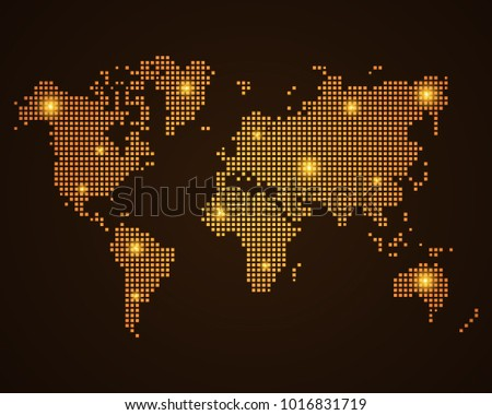 Illustration night world map communications network stock vector pixel mosaic glow orange dot map with light on dark background of map of world map sciox Choice Image