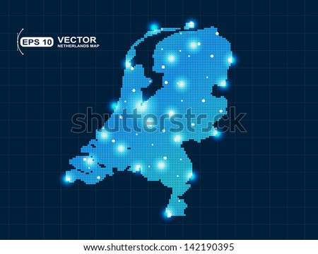 pixel Netherlands map with spot lights - stock vector