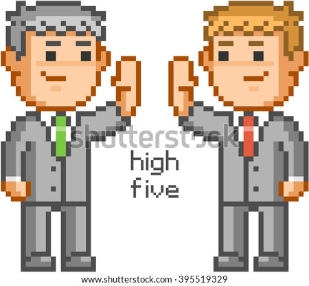 Pixel people and friendly high five. Pixel businessmen and team high five. - stock vector