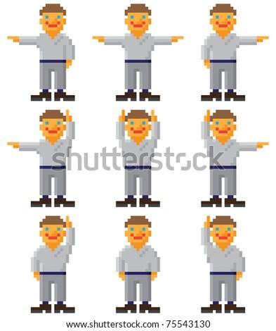 Pixel people 8 bit computer art. Vector little man. - stock vector