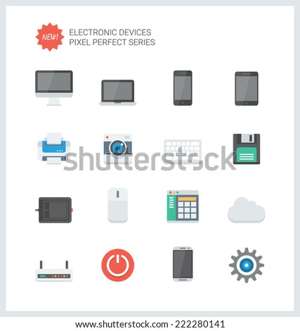 Pixel perfect flat icons set of computer technology and electronics devices, mobile phone communication and digital product. Flat design style modern pictogram collection. Isolated on white background - stock vector