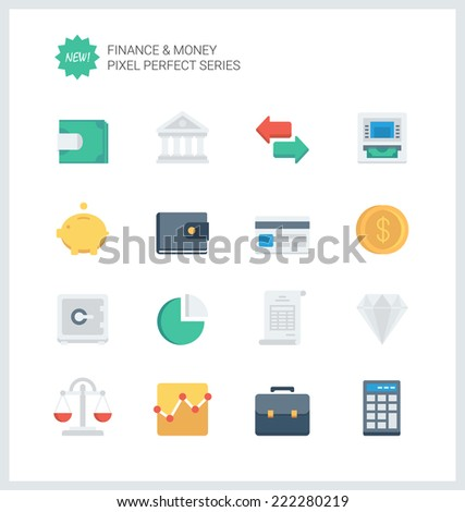 Pixel perfect flat icons set of finance objects and banking elements, financial items and money symbol. Flat design style modern pictogram collection. Isolated on white background. - stock vector