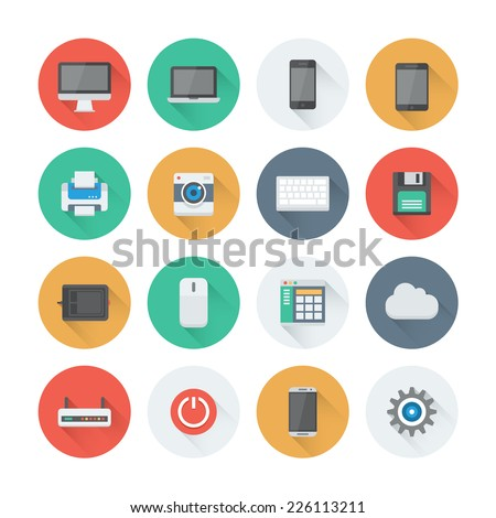 Pixel perfect flat icons set with long shadow effect of computer technology and electronics devices, mobile phone communication and digital products. Flat design style modern pictogram collection.  - stock vector