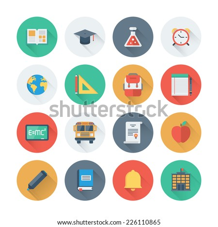 Pixel perfect flat icons set with long shadow effect of elementary school objects and education items, learning symbol and student equipment. Flat design style modern pictogram collection.