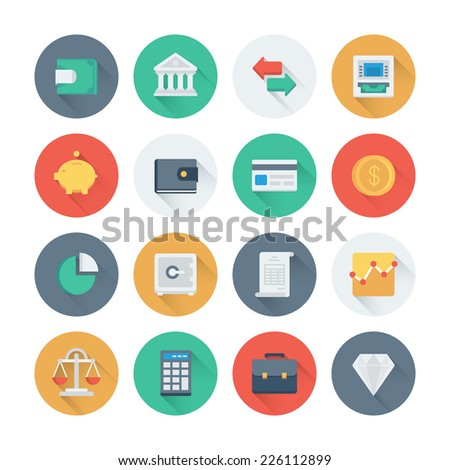 Pixel perfect flat icons set with long shadow effect of finance objects and banking elements, financial items and money symbol. Flat design modern pictogram collection. Isolated on white background - stock vector