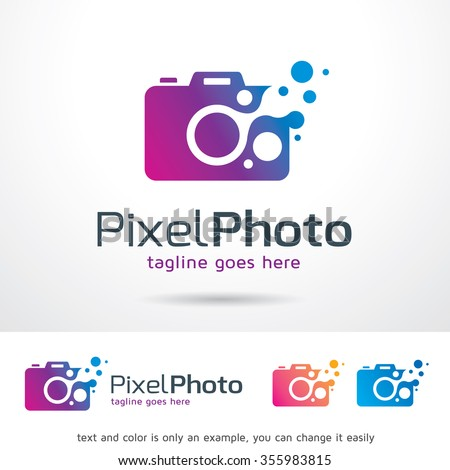 Pixel Photo Logo Template Design Vector  - stock vector
