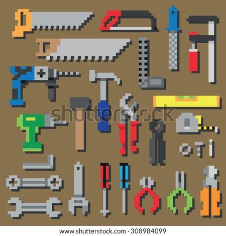 Pixel repair and construction working tools pixel icon set in vector - stock vector
