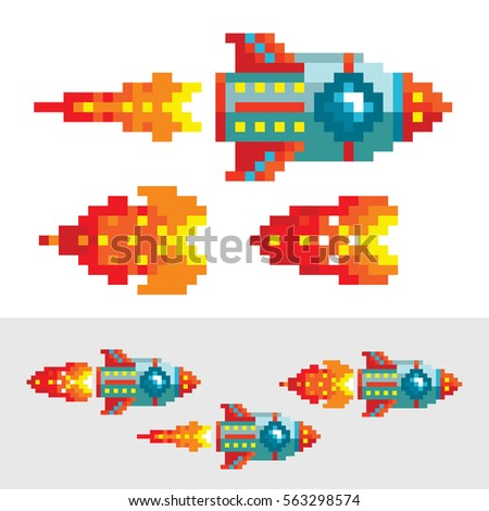 Pixel rocket with flame. Different phases of pixel flame for animation. Old school arcade game design. Video game retro style. Space level.