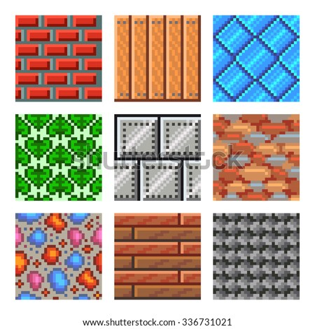 Pixel seamless textures for games icons high detailed vector set - stock vector