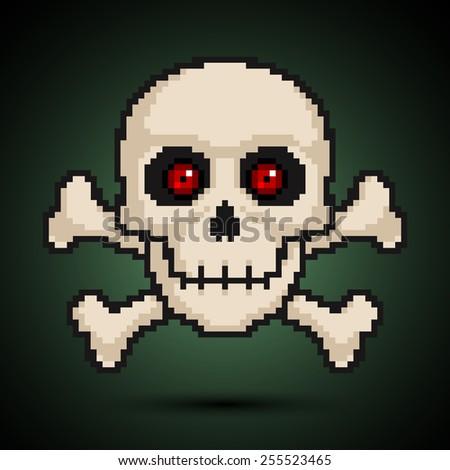 Pixel skull and crossbones. Vector illustration - stock vector