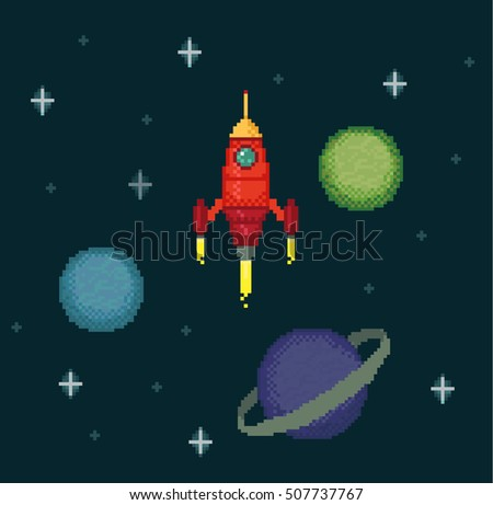 Pixel Spaceships In Space With Stars And Planets