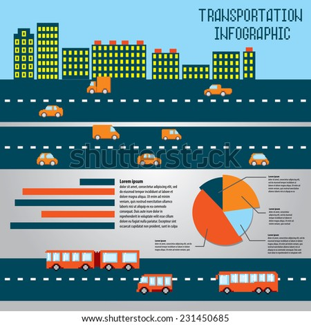 Pixel transportation info graphic set. Old school computer graphic style. - stock vector