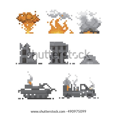 pixel war and destruction vector