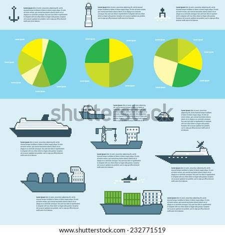 Pixel water transport infographics. Old school computer graphic style. - stock vector