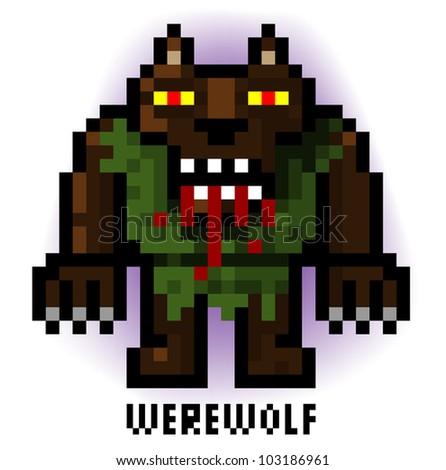 pixel werewolf - stock vector