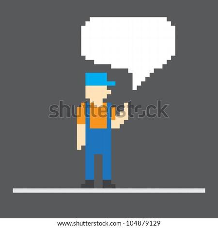 Pixel worker with speech cloud. Template foe a text - stock vector