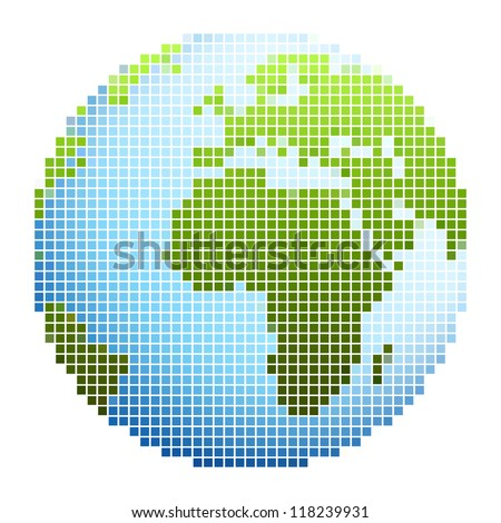 Pixel world globe - stock vector