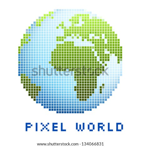 pixel world icon isolated - stock vector