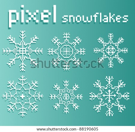 Pixel Xmas Snowflake Element Set - stock vector