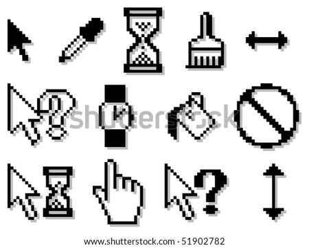 pixelated cursors for internet and web design - stock vector