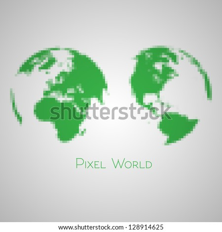 Pixelated Earth - stock vector