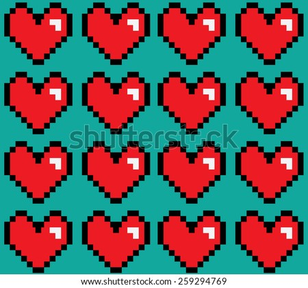 Pixelated hearts digital background seamless vector pattern. - stock vector