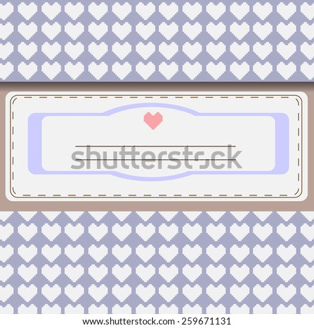 Pixelated hearts grey, silver greeting card. Congratulations. Digital background vector illustration.  - stock vector