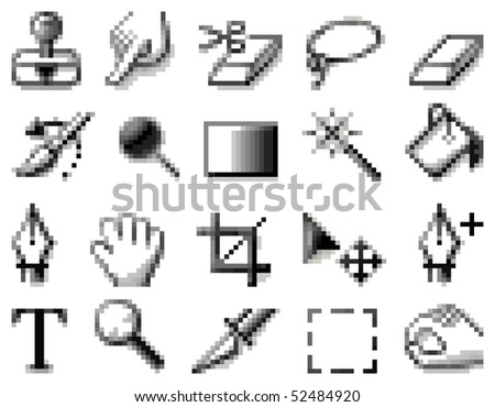 pixelated icons for internet and web design - stock vector
