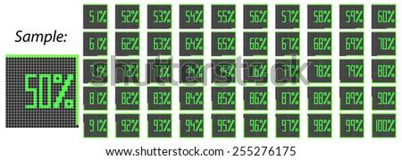 Pixelated Percentage Icons Second Half Set 51-100 Black-Green Vector illustration - stock vector