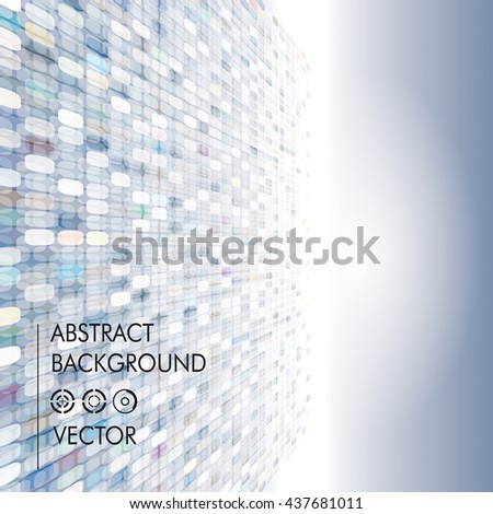 Pixels perspective abstract background. - stock vector