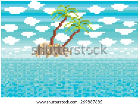pixels tropical island illustration