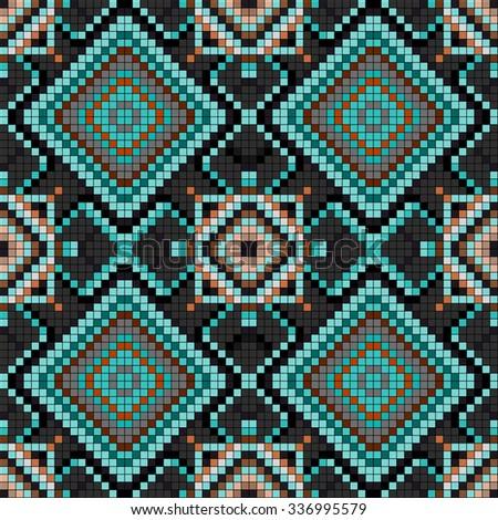 pixels vintage geometric background seamless pattern vector illustration - stock vector