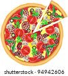 pizza and cut piece vector illustration isolated on white background - stock vector