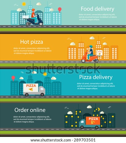Pizza and food delivery web banners set, vector illustration.  Courier in helmet on scooter delivering pizza - stock vector