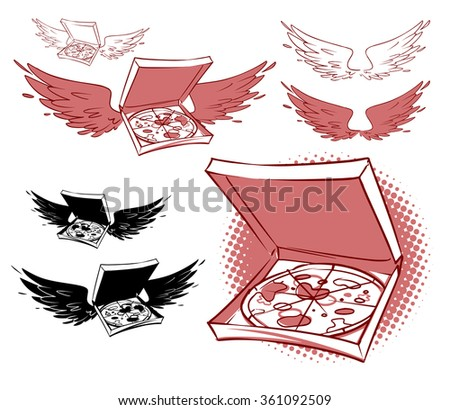 pizza box with wings icon. fast pizza delivery concept - stock vector