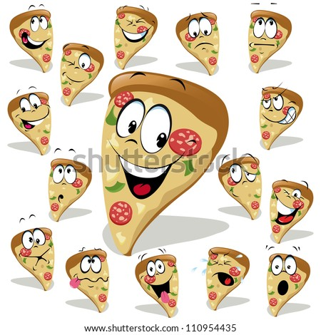 pizza cartoon illustration with many expressions - stock vector