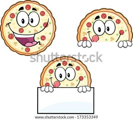 Pizza Cartoon Mascot Character 4. Vector Collection Set - stock vector