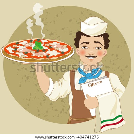 Pizza Chef with Pizza - stock vector