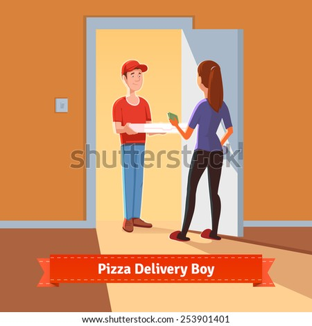Pizza delivery boy handing pizza box to a beautiful girl at her home. Woman giving money for her order. Flat style illustration or icon. EPS 10 vector. - stock vector