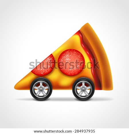 Pizza delivery concept photo realistic vector illustration - stock vector