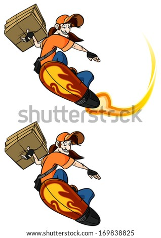 Pizza delivery guy on a hover-board - stock vector