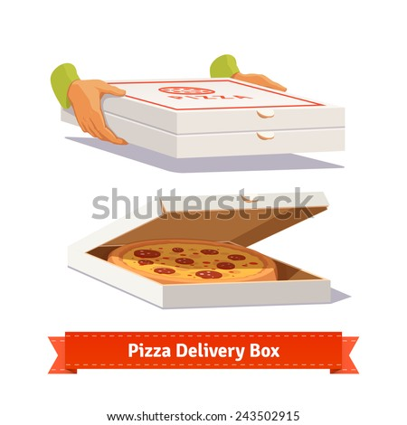 Pizza delivery. Handing product boxes. Tasty pizza in the opened cardboard box. Flat style illustration.