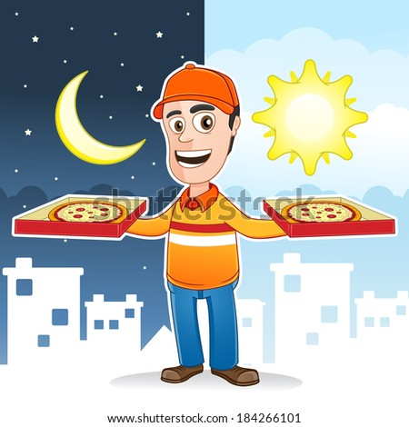 Pizza delivery man - 24 hours a day service  - stock vector