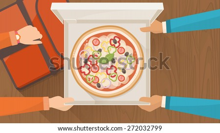 Pizza delivery service at home with delivery guy hading a box with pizza to a customer and holding a pizza bag, hands top view - stock vector