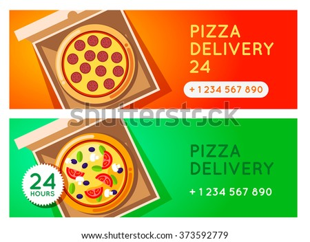 Pizza delivery vector background. Pizza 24 hours. Pizza with pizza box. Hot fast food pizza delivery. pizza banner for restaurant or cafe. 24 hours cafe delivery. Pizza to go.